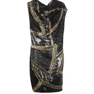 All Saints Dasia Dress Black/Gunmetal Sequins